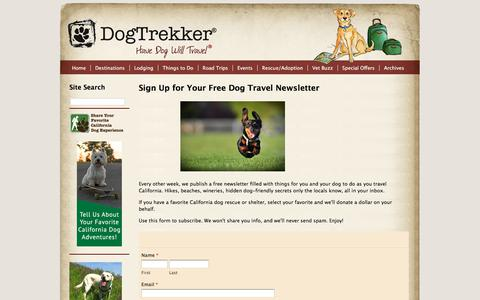 Screenshot of Signup Page dogtrekker.com - Sign Up for Your Free Dog Travel Newsletter - captured Sept. 24, 2018