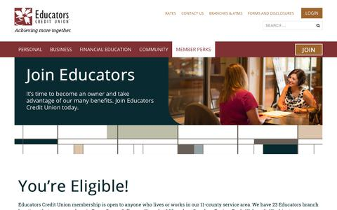 Screenshot of Signup Page ecu.com - Why Join? | Educators Credit Union - captured June 24, 2019