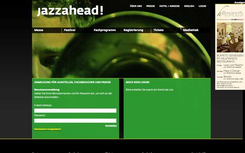 Screenshot of Login Page jazzahead.de - Login - jazzahead! - captured Sept. 30, 2014