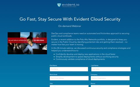 Screenshot of Landing Page evident.io - Go Fast, Stay Secure With Evident Cloud Security - Webinar - captured May 26, 2018