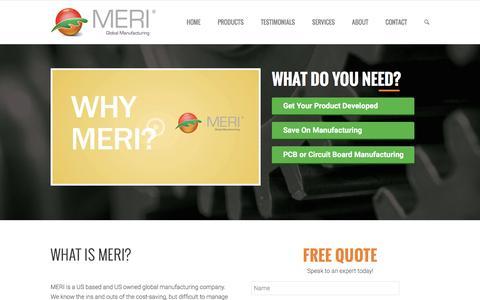 Screenshot of Home Page merichina.com - MERI China - Rapid Prototyping Services - captured Nov. 17, 2016