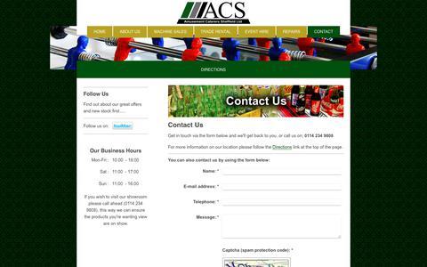 Screenshot of Contact Page amusementcaterers.com - Amusement Caterers Sheffield - Contact Us - captured Oct. 3, 2018