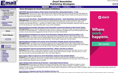 Screenshot of Home Page emailuniverse.com - News & Ezine Strategies For Email Newsletter Publishers & Permission-Based Email Marketers - captured June 23, 2017