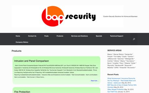 Screenshot of Products Page bapsecurity.com - Products | bap Security - captured July 20, 2016