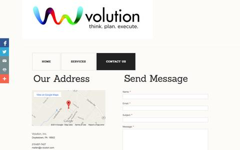 Screenshot of Privacy Page Contact Page v-olution.com - Contact Us - captured Oct. 26, 2014