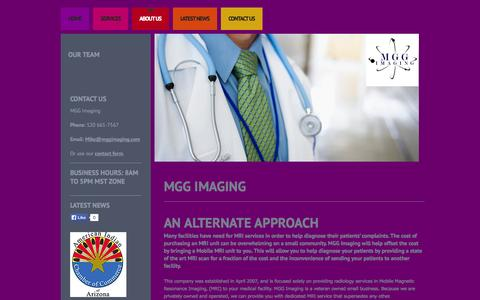 Screenshot of About Page mggimaging.com - About Us - MGG Imaging - captured Oct. 3, 2014