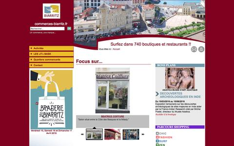 Screenshot of Home Page commerces-biarritz.fr - Commerces biarritz - PAYS BASQUE - captured March 7, 2016