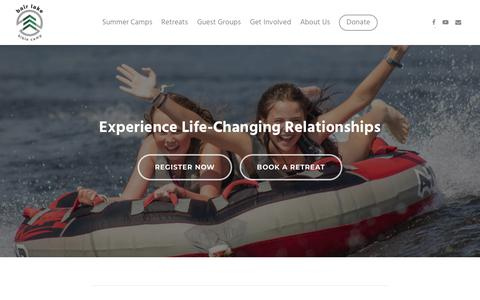 Screenshot of Home Page blbc.com - Bair Lake Bible Camp – Experience Life-Changing Relationships - captured Sept. 21, 2019