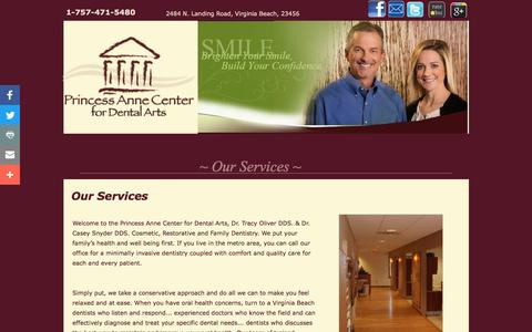 Screenshot of Services Page princessannecenterfordentalarts.com - Virginia Beach Family & Cosmetic Dentistry Services | Princess Anne Center for Dental Arts - captured Nov. 12, 2016