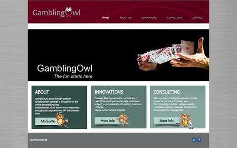 Screenshot of Home Page gamblingowl.com - GamblingOwl - The fun starts here! - captured Oct. 1, 2014