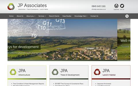 Screenshot of Home Page jp-associates.co.uk - Accredited, independent, professional tree consultants working across the south of the UK » JP Associates - captured Nov. 17, 2016