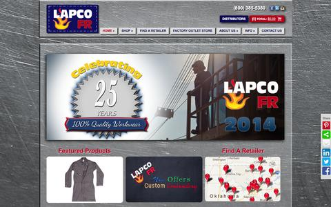 Screenshot of Home Page lapco.com - LAPCO is your source for industrial work wear. - captured Sept. 25, 2014