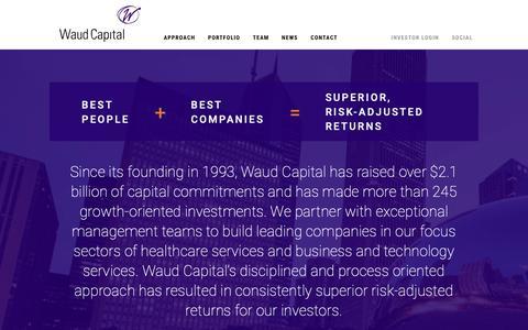 Screenshot of Home Page waudcapital.com - Waud Capital Partners - captured Oct. 20, 2018