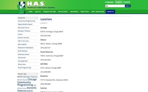Screenshot of Locations Page hascares.org - Locations › Healthcare Alternative Systems - captured Jan. 27, 2016