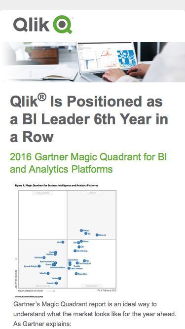 Qlik | 2016 Gartner Magic Quadrant for BI and Analytics
