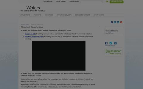 Screenshot of Jobs Page waters.com - Global Job Opportunities : Waters - captured July 24, 2019
