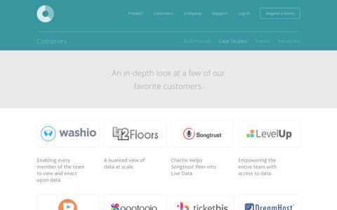 Screenshot of Case Studies Page chartio.com - Chartio - Customer Case Studies | Customers - captured July 19, 2014