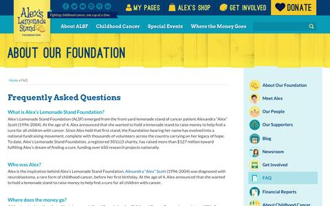Screenshot of FAQ Page alexslemonade.org - Frequently Asked Questions | Alex's Lemonade Stand Foundation for Childhood Cancer - captured Oct. 22, 2016