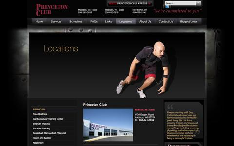 Screenshot of Locations Page princetonclub.net - Health Clubs, Gyms in Wisconsin | Princeton Club - Locations - captured Jan. 31, 2016