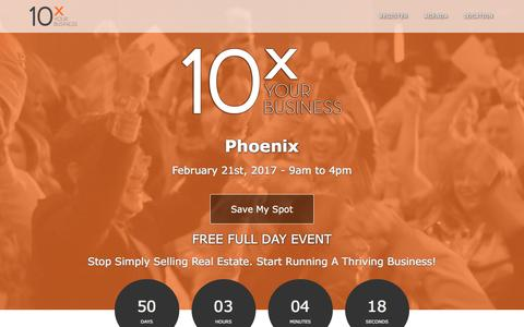 Screenshot of Landing Page tomferry.com - Phoenix 10X Your Business | Tom Ferry - Your Coach - captured Jan. 2, 2017