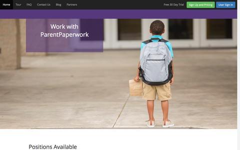 Screenshot of Jobs Page parentpaperwork.com - Jobs - ParentPaperwork - captured Dec. 7, 2015