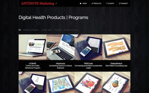 Screenshot of Products Page antidotemarketing.com - Digital Health Products | Programs « ANTIDOTE Marketing - captured Sept. 30, 2014