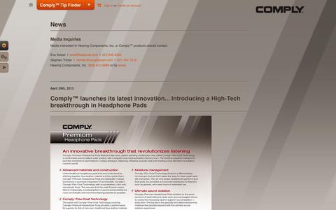 Screenshot of Press Page complyfoam.com - News - captured Sept. 19, 2014