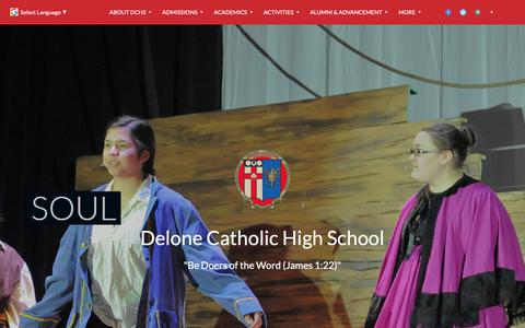 Screenshot of Home Page delonecatholic.org - Home Page - Delone Catholic High School - captured Nov. 13, 2018
