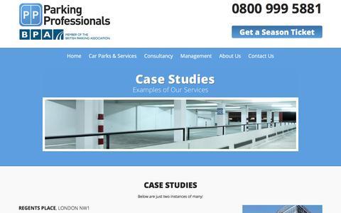Screenshot of Case Studies Page parking-pros.co.uk - Car Park Professionals Case Studies | Parking Professionals - captured Jan. 25, 2016