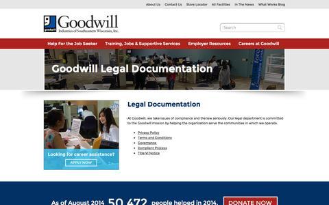 Screenshot of Terms Page goodwillsew.com - Goodwill Legal Documentation - captured Oct. 2, 2014