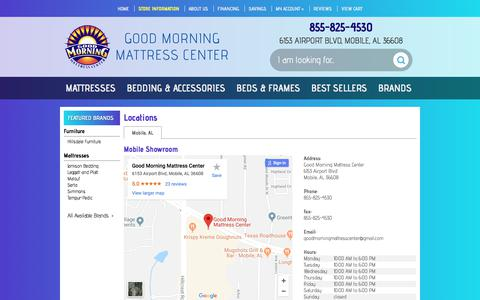 Screenshot of Contact Page Locations Page goodmorningmattresscenter.com - Contact Good Morning Mattress Center in Alabama - captured July 21, 2018