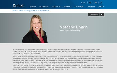 Screenshot of Team Page deltek.com - Natasha Engan | Management Team | Deltek - captured April 19, 2019