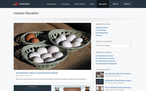 Screenshot of Blog fundrise.com - Education   Fundrise - captured Sept. 16, 2014