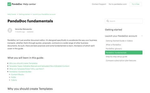 Screenshot of Support Page pandadoc.com - PandaDoc fundamentals – Help Center - captured April 29, 2019