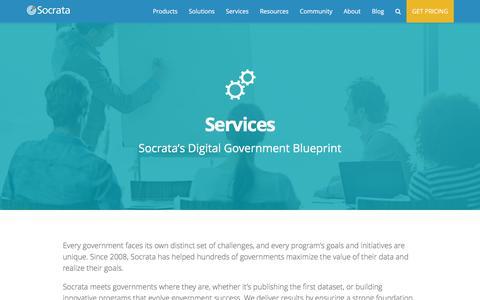Screenshot of Services Page socrata.com - Services - Socrata, Inc. - captured April 29, 2016