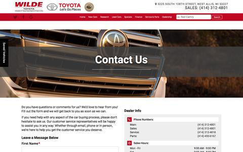 Screenshot of Contact Page wildetoyota.com - Contact Wilde Toyota | 3225 South 108th Street West Allis, WI 53227 | (414) 312-4801 - captured Oct. 26, 2017