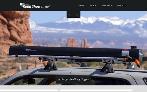 Screenshot of Home Page roadshower.com - Road Shower - The Rack Mounted Solar Shower - New Model - captured Sept. 4, 2015