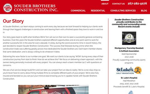 Screenshot of About Page souderbrothersconstruction.com - Commercial Construction Bucks & Montgomery County - captured Oct. 20, 2018