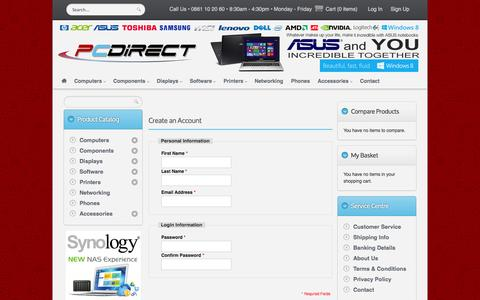 Screenshot of Signup Page pc-direct.co.za - PC Direct ||  Create New Customer Account - captured Oct. 1, 2014