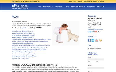 Screenshot of FAQ Page dogguardofil.com - Dog Guard   Dog Fence Illinois   Dog Fencing Chicago   Electric Dog Fences Aurora IL   Dog Fence Geneva   Yorkville Illinois Dog Fence   DOG GUARD of Illinois - captured Oct. 12, 2017