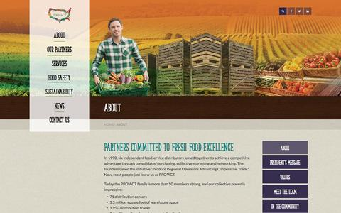 Screenshot of About Page proactusa.com - Supply Chain Management | Fresh Produce | Fresh Food | About - captured Oct. 28, 2014