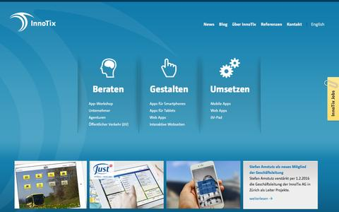 Screenshot of Home Page innotix.com - InnoTix AG :: Software-Entwicklung und Design für Apps im Web und mobilen Geräten wie iPad, iPhone in Zürich, Schweiz - captured Feb. 11, 2016