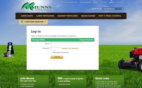 Screenshot of Login Page munns.com.au - Munns - Login - Log-in - captured Sept. 30, 2014