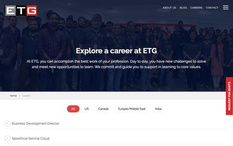 Screenshot of Jobs Page etisbew.com - Career Opportunities- IT Offshore Outsourcing Software Development Company - Etisbew - captured July 13, 2019