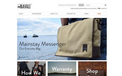 Screenshot of Home Page navali.com - Vintage Leather Bags and Wallets for Men � NAVALI - captured Jan. 11, 2016