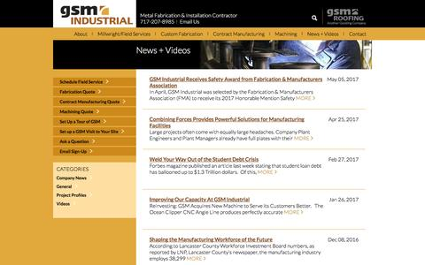 Screenshot of Press Page gsmindustrial.com - GSM Industrial News | Employee news. Project insights. Videos - captured May 13, 2017