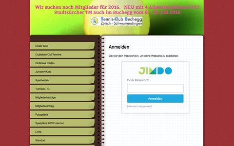 Screenshot of Login Page tennis-tcb.ch - Anmelden - TCB Tennisclub Buchegg Schwamendingen Zürich - captured June 7, 2016