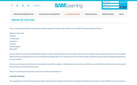 Terms of Site Use - SAM Learning
