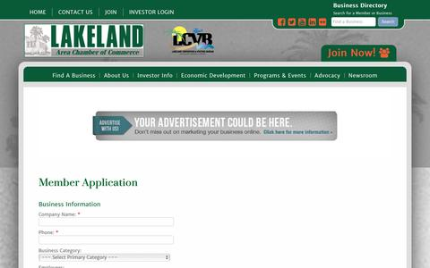 Screenshot of Signup Page lakelandchamber.com - Member - Lakeland Area Chamber of Commerce - captured Jan. 24, 2016