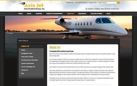 Screenshot of About Page axisjet.com - About Axis Jet - Sacramento aircraft sales, Sacramento air charter, jet, turboprop, aviation management - captured Sept. 30, 2014
